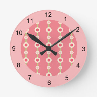 KRW Raspberry Lime Floral Stripe Clock