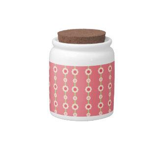 KRW Raspberry Lime Floral Stripe Jar Candy Dish