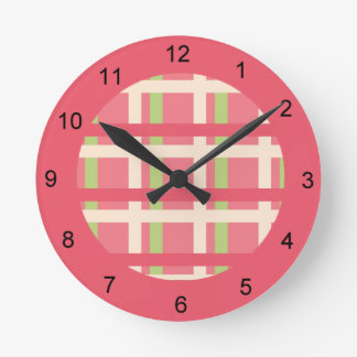 KRW Raspberry Lime Plaid Clock