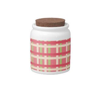 KRW Raspberry Lime Plaid Jar Candy Dish