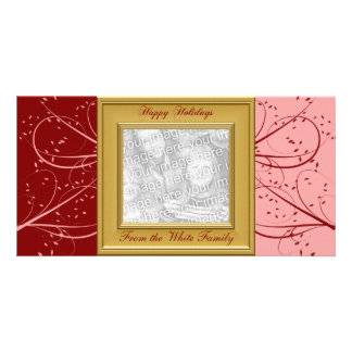 KRW Red and Pink Modern Custom Photo Holiday Card Photo Card