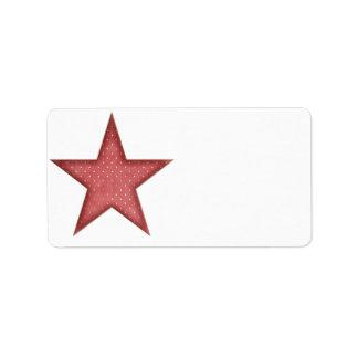 KRW Red Christmas Star Medium Blank Label Address Label