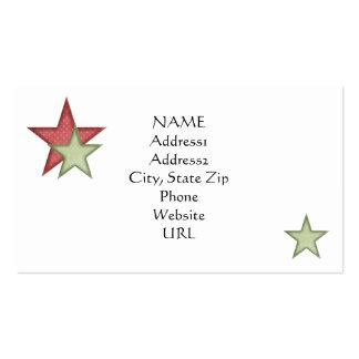 KRW Red Christmas Stars Custom Business Card