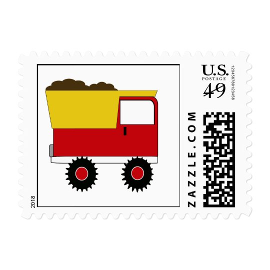 KRW Red Dump Truck Postage Stamp