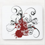 KRW Red Floral Grunge Mouse Pad