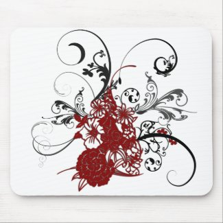 KRW Red Floral Grunge mousepad