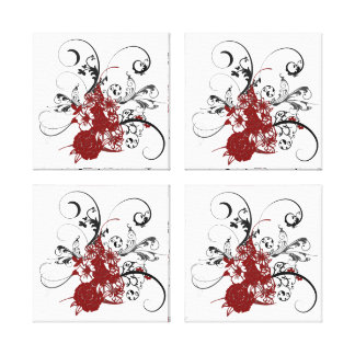 KRW Red Floral Grunge Quad Wrapped Canvas