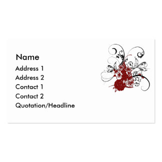 KRW Red Floral Grunge Swirl Business Card