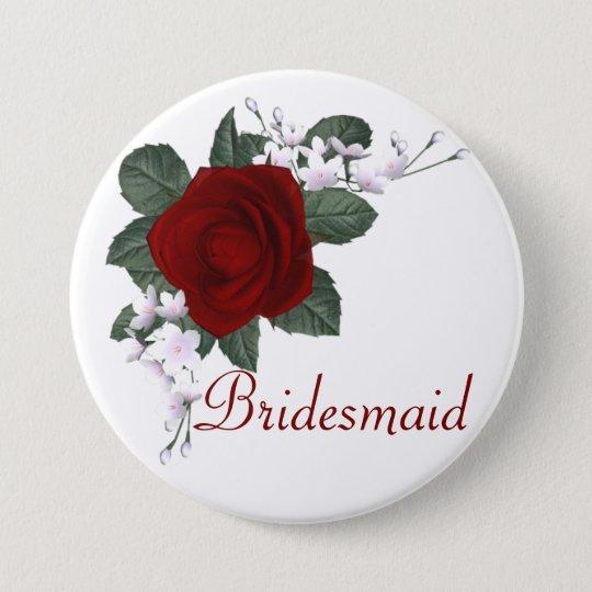 KRW Red Rose Bridesmaid Wedding Pin