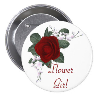 KRW Red Rose Flower Girl Wedding Pin