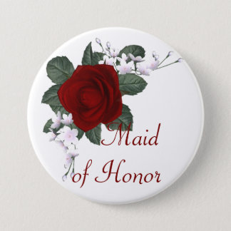 KRW Red Rose Maid of Honor Wedding Pin