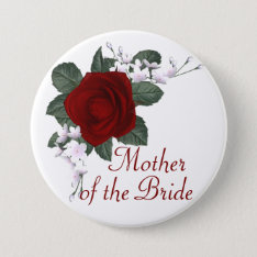 Krw Red Rose Mother Of The Bride Wedding Pin at Zazzle