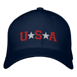 KRW Red White and Blue USA Stars Embroidered Embroidered Baseball Caps