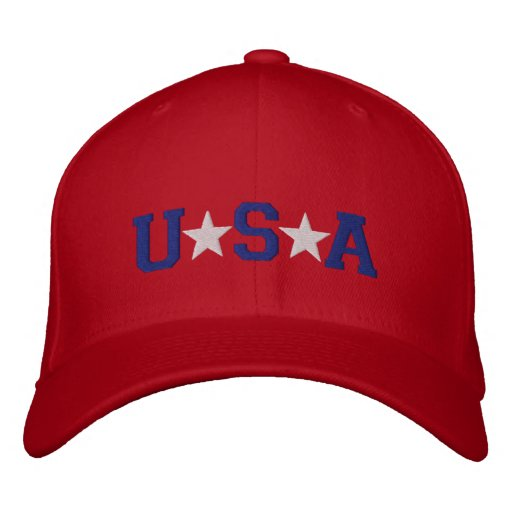 KRW Red White and Blue USA Stars Embroidered Embroidered Baseball Hat