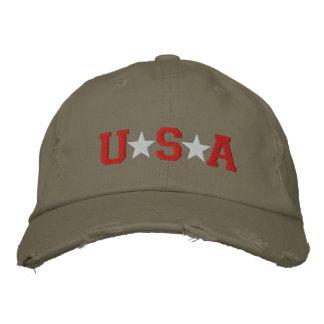 KRW Red White and Olive Green USA Stars Baseball Cap