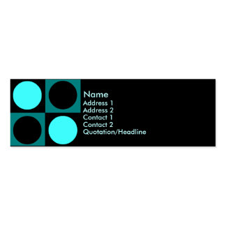 KRW Retro Aqua Squares and Circles Double-Sided Mini Business Cards (Pack Of 20)