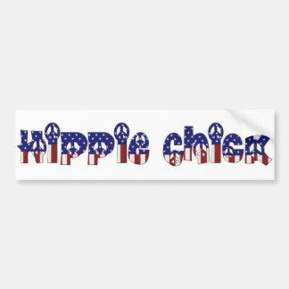 KRW Retro Hippie Chick Peace Sign Car Bumper Sticker