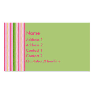KRW Retro Pink and Green Stripe Business Card
