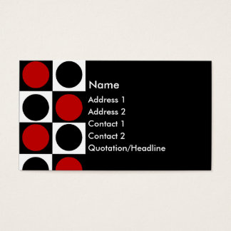KRW Retro Red White and Black Squares and Circles Business Card