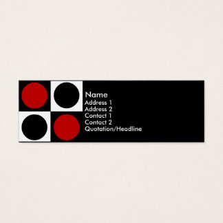 KRW Retro Red White and Black Squares and Circles Mini Business Card