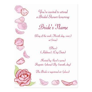 KRW Rose Petal Custom Shower Invitation Post Card