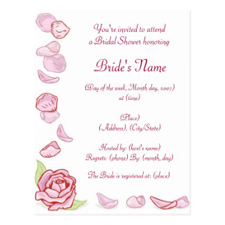 KRW Rose Petal Custom Shower Invitation Postcard