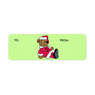 KRW Santa Teddy Christmas To and From Label Return Address Label