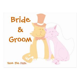 KRW Save the Date Cats Custom Wedding Card Postcard
