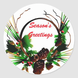 KRW Season's Greetings Pine Cone Holiday Classic Round Sticker