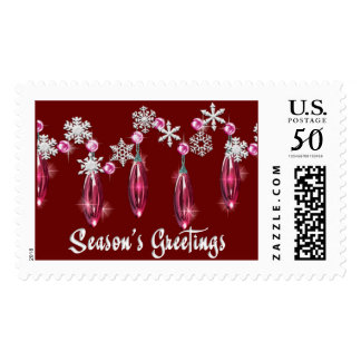 KRW Season's Greetings Snowdrops Stamp Red