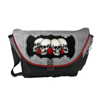 KRW Skulls and Roses Gothic Messenger Bag