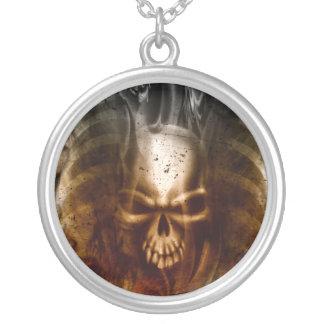 KRW Smoldering Skull Silver Necklace