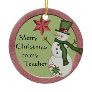 KRW Snowman Teacher Christmas Ornament ornament