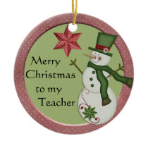 KRW Snowman Teacher Christmas Ornament
