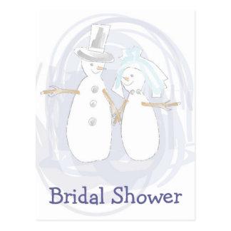 KRW Snowmen Custom Shower Invitation Postcard