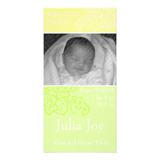 KRW Spring Leaf Custom Photo Birth Announcement