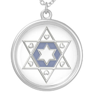 KRW Star of David Blue Sterling Silver Necklace