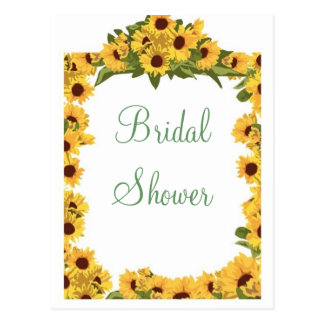 KRW Sunflower Custom Bridal Shower Invitation Postcard