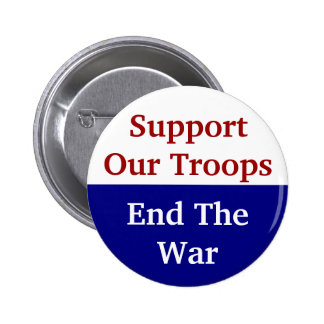 KRW Support Our Troops End The War Pinback Button
