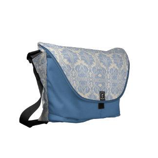 KRW Swanky Blue and White Damask Med Messenger Bag