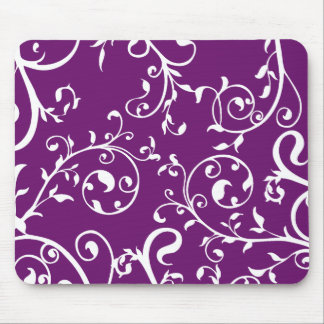 KRW Swirling Vines Purple Mouse Pad