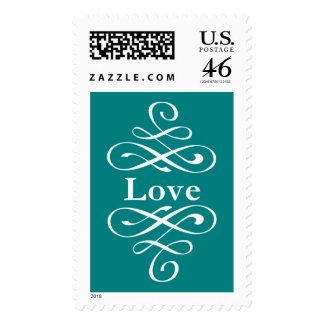 KRW Teal Elegant Swirl Love Wedding Stamps