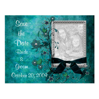 KRW Teal Flowers and Bows Photo Save the Date Postcards