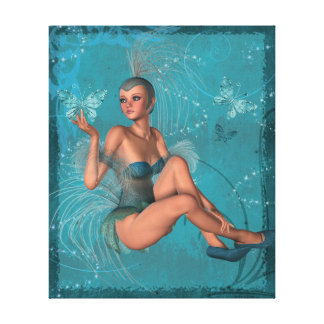 KRW The Blue Sprite and the Butterflies Fantasy Canvas Print