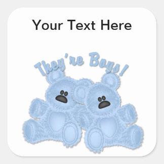 KRW They're Boys Twin Blue Teddy Bear Sticker