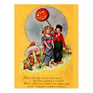 KRW Trick or Treaters Vintage Halloween Postcard