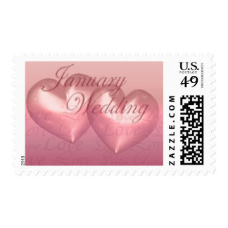 KRW Two Hearts January Wedding Pink Postage