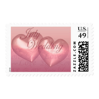 KRW Two Hearts July Wedding Pink Postage