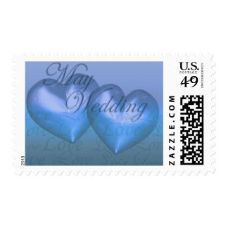 KRW Two Hearts May Wedding Blue Postage