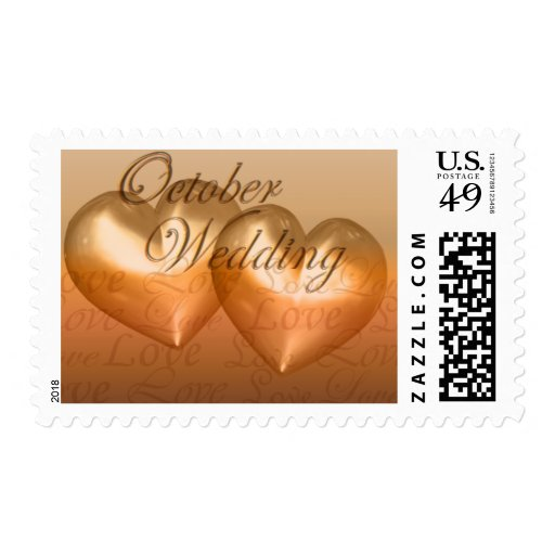 KRW Two Hearts October Wedding Amber Stamp